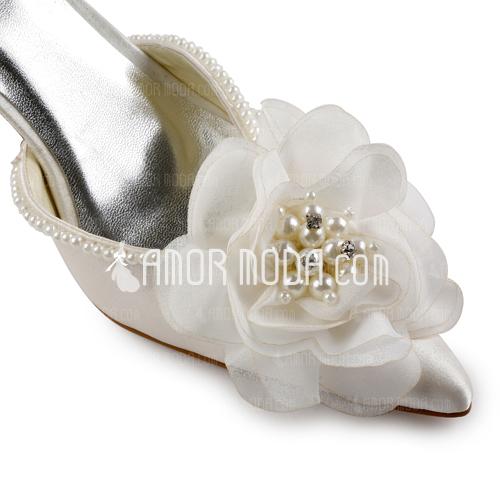 Vrouwen Satijn Stiletto Heel Closed Toe Pumps met Imitatie Parel (047005172)