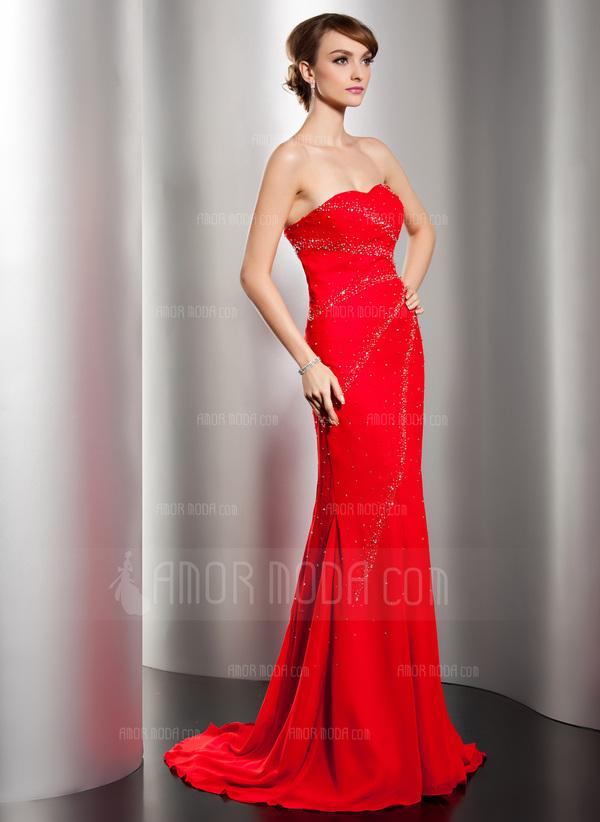Trompete/Meerjungfrau-Linie Herzausschnitt Sweep/Pinsel zug Chiffon Abendkleid mit Perlen verziert (017014550)