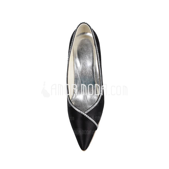 Vrouwen Satijn Spool Hak Closed Toe met Bergkristal (047011044)