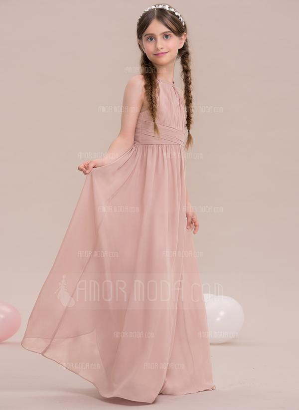 A-Linie/Princess-Linie U-Ausschnitt Bodenlang Chiffon Kleid für junge Brautjungfern mit Rüschen (009119578)