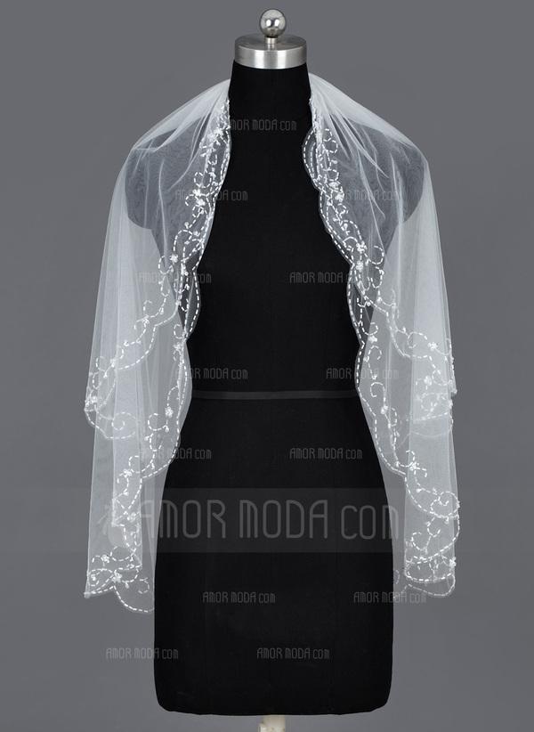 Zweischichtig Ellenbogen Braut Schleier mit Perlenbesetzter Saum (006035493)