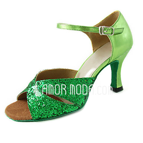 Vrouwen Sprankelende Glitter Patent Leather Hakken Sandalen Latijn Dansschoenen (053013306)