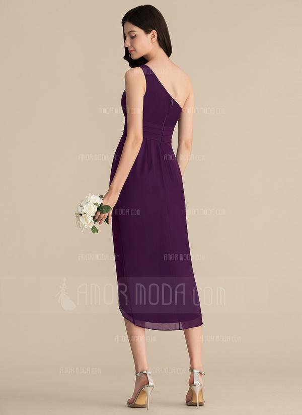 Etui-Linie Eine Schulter Asymmetrisch Chiffon Brautjungfernkleid mit Rüschen (007153315)