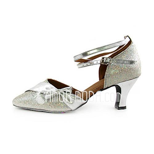 Vrouwen Imitatieleer Sprankelende Glitter Hakken Pumps Moderne met Strik Enkelriempje Dansschoenen (053013370)