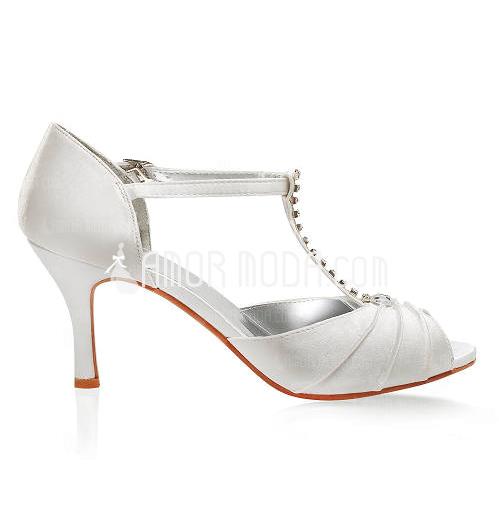 Kvinnor Satäng STILETTKLACK Peep Toe Sandaler med Buckle Strass (047005119)