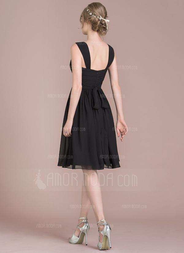 A-Linie/Princess-Linie V-Ausschnitt Knielang Chiffon Brautjungfernkleid mit Rüschen Schleife(n) (007105578)