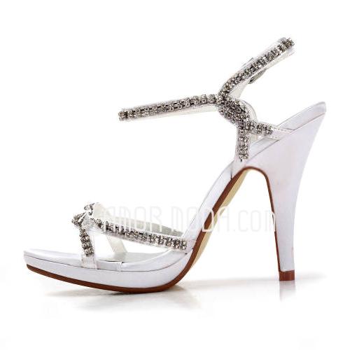Vrouwen Satijn Stiletto Heel Plateau Sandalen met Strass (047011823)