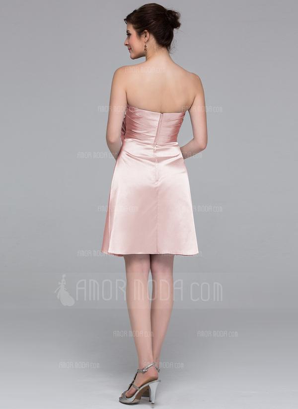 Etui-Linie Herzausschnitt Knielang Charmeuse Brautjungfernkleid mit Blumen (007037227)