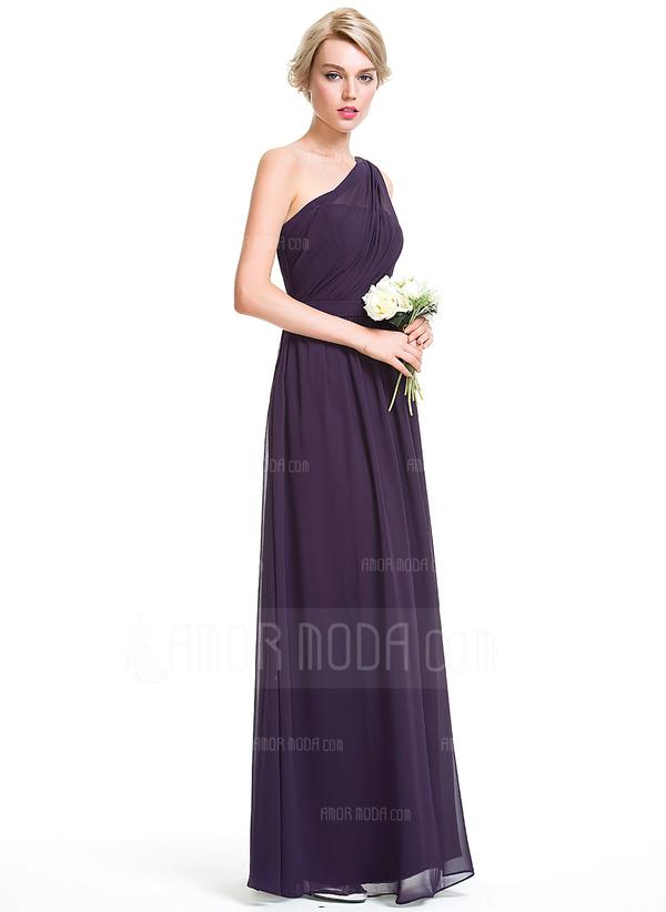 A-Linie/Princess-Linie Eine Schulter Bodenlang Chiffon Brautjungfernkleid mit Rüschen (007087736)