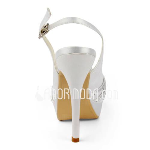 Vrouwen Satijn Stiletto Heel Peep Toe Plateau Sandalen Slingbacks met Buckle Bergkristal (047011846)