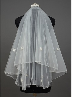 Two-tier Elbow Bridal Veils With Pencil Edge (006034403)