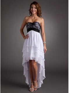 Cheap Homecoming Dresses Empire Sweetheart Asymmetrical Chiffon Charmeuse Homecoming Dress With Lace (022008962)