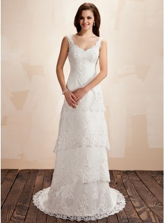A-Line/Princess Sweetheart Court Train Satin Lace Wedding Dress With Beading (002000223)