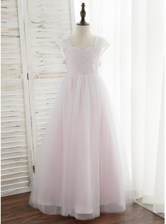 Ball-Gown/Princess Floor-length Flower Girl Dress - Tulle/Lace Sleeveless Sweetheart (010172352)