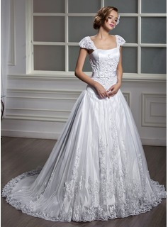 Robe de Marie Ligne-A/Princesse Encolure carre Traine courte Satin Tulle Robe de Marie avec Dentelle (002012091)
