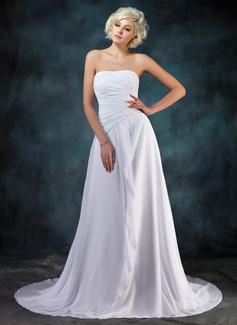 A-Line/Princess Sweetheart Court Train Chiffon Wedding Dress With Beading Appliques Lace Cascading Ruffles (002022595)