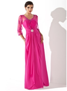 A-Line/Princess V-neck Floor-Length Chiffon Mother of the Bride Dress With Ruffle Cascading Ruffles (008005687)