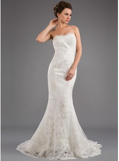 Trumpet/Mermaid Strapless Sweep Train Satin Wedding Dress With Appliques Lace Sequins (002035873)