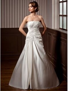 A-Line/Princess Strapless Chapel Train Satin Wedding Dress With Ruffle Lace Sequins (002004785)