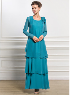 A-Line/Princess Scoop Neck Ankle-Length Chiffon Mother of the Bride Dress (008056828)