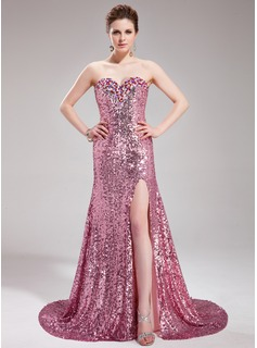 A-Line/Princess Sweetheart Court Train Sequined Prom Dress With Beading (018019681)