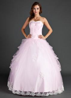 Duchesse-Linie Schatz Bodenlang Tüll Quinceañera Kleid (Kleid für die Geburtstagsfeier) mit Perlstickerei Applikationen Spitze Pailletten (021015586)