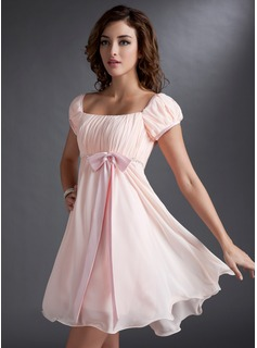 Holiday Dresses A-Line/Princess Square Neckline Short/Mini Chiffon Satin Homecoming Dress With Ruffle Beading (022021033)