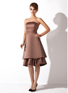 A-Line/Princess Strapless Knee-Length Satin Bridesmaid Dress With Ruffle (007000904)