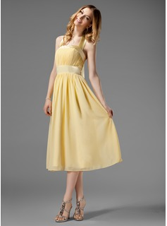 A-Line/Princess Halter Tea-Length Chiffon Charmeuse Bridesmaid Dress With Ruffle Bow(s) (007000956)