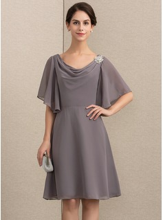 A-Line/Princess Cowl Neck Knee-Length Chiffon Mother of the Bride Dress With Crystal Brooch (008164085)