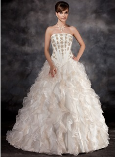Ball-Gown Strapless Court Train Organza Charmeuse Wedding Dress With Beading Cascading Ruffles (002016934)