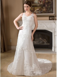 A-Line/Princess V-neck Chapel Train Organza Satin Wedding Dress With Lace Beading (002000383)