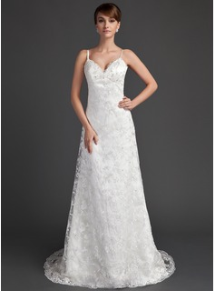 A-Line/Princess Sweetheart Sweep Train Satin Lace Wedding Dress With Beading (002000220)