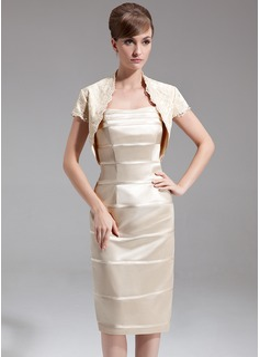 Vestido tubo Escote corazón Hasta la rodilla Charmeuse Vestido de madrina (008006402)
