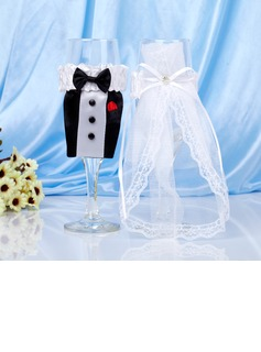 Bride and Groom Toasting Flutes With Ribbon Bow/Rhinestone (126032618)