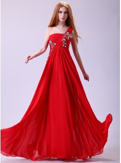 A-Line/Princess One-Shoulder Floor-Length Chiffon Prom Dress With Ruffle Beading Appliques (018014357)