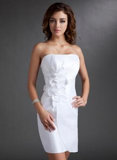 Forme Fourreau Sans bretelle Court/Mini Taffeta Robe de soirée étudiante avec Plissé Fleur(s) À ruban(s) (022009536)