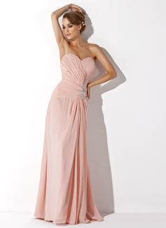 A-Linie/Princess-Linie Herzausschnitt Bodenlang Chiffon Kleid für die Brautmutter mit Rüschen Spitze Perlen verziert Schlitz Vorn (008006007)