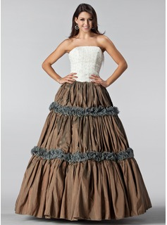Ball-Gown Strapless Floor-Length Taffeta Lace Quinceanera Dress With Ruffle (021005220)