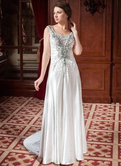 A-Line/Princess Sweetheart Court Train Taffeta Wedding Dress With Ruffle Beading Appliques Lace (002024445)