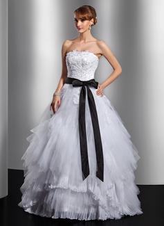Duchesse-Linie Trägerlos Bodenlang Tüll Quinceañera Kleid (Kleid für die Geburtstagsfeier) mit Schleifenbänder/Stoffgürtel Applikationen Spitze Schleife(n) Gestufte Rüschen (021014738)