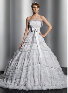 Robe de Marie bal Sans bretelles Traine courte Satin Tulle Dentelle Robe de Marie avec Echarpes Perl (002014829)