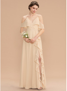 A-Line V-neck Floor-Length Chiffon Bridesmaid Dress With Bow(s) Split Front Cascading Ruffles (007176764)