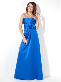 Empire Sweetheart Floor-Length Satin Bridesmaid Dress With Ruffle Bow(s) (007000939)