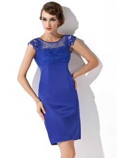 Sheath/Column Scoop Neck Short/Mini Satin Mother of the Bride Dress With Lace (008013759)