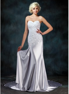 Mermaid Sweetheart Watteau Train Charmeuse Wedding Dress With Lace Beadwork (002000157)