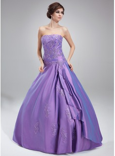 Ball-Gown Strapless Floor-Length Taffeta Quinceanera Dress With Lace Beading (021002281)
