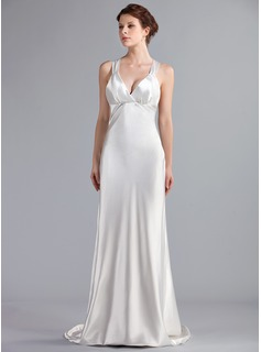 Empire V-neck Sweep Train Charmeuse Wedding Dress (002026258)