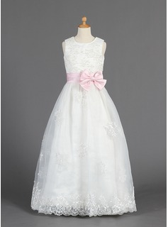 A-Line/Princess Floor-length Flower Girl Dress - Organza/Satin Sleeveless Scoop Neck With Lace/Sash/Beading/Bow(s) (010014657)
