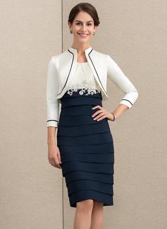 Etui-Linie U-Ausschnitt Knielang Chiffon Kleid für die Brautmutter mit Applikationen Spitze (008152151)